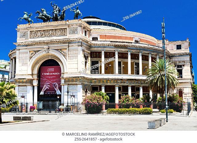 Politeama Theatre. Palermo, Sicily, Italy