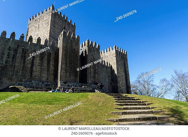 The Medieval Castle of Guimaraes. Braga District, Norte Region, Portugal, Europe