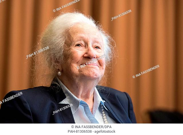 Auschwitz survivor Erna de Vries during a press conference at the regional court in Detmold, Germany, 17 June 2016. The court sentenced the former SSoverseer R