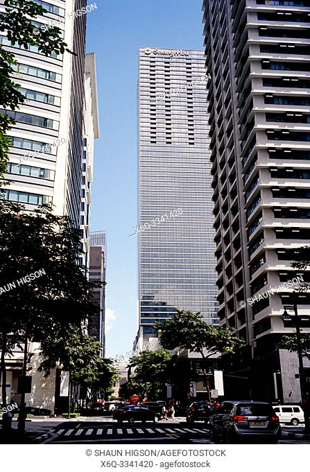 Skyscrapers of Bonifacio Global City in Manila in Luzon Metro Manila in the Philippines in Southeast Asia Far East