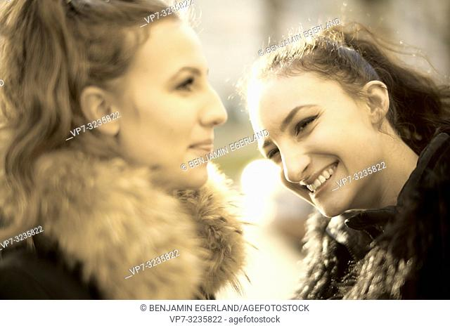 Two young sisters, Munich, Germany