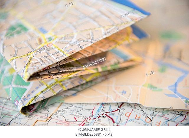 Pile of folded maps