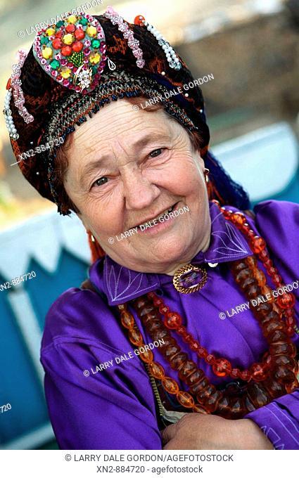 Russia. Tarbagatai. A Buryat Village or 'Old Believers'. A member of the Bilina Ladies Choir