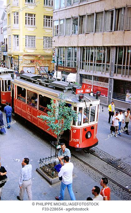 Tramway in Istiklal Caddesi ('Independence Street'), Istanbul's main shopping street in Beyoglu quarter. Turkey