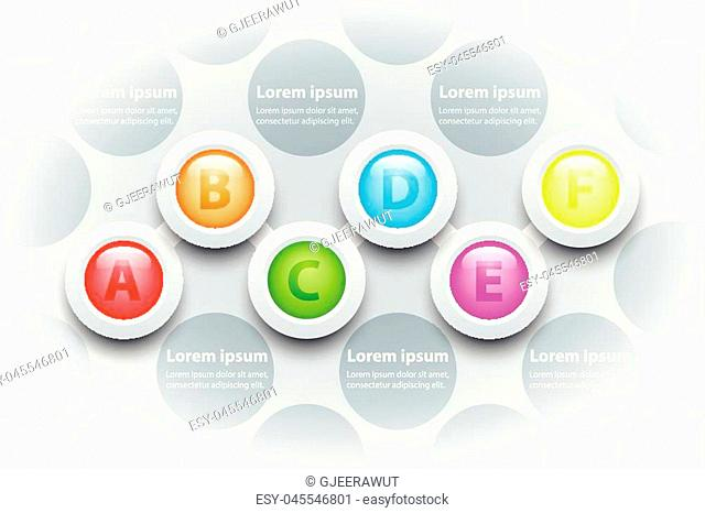 Colorful Six topics 3d paper circle in sequence timeline on pattern for presentation cover poster vector design infographic illustration concept