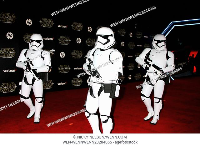 Star Wars - The Force Awakens World Premiere Featuring: Storm Troopers Where: Los Angeles, California, United States When: 15 Dec 2015 Credit: Nicky Nelson/WENN