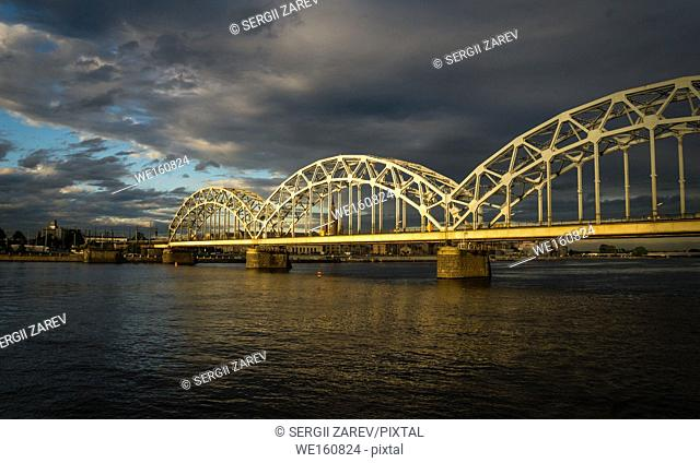 Panoramic View of a Bridge in Riga city in a summer evening