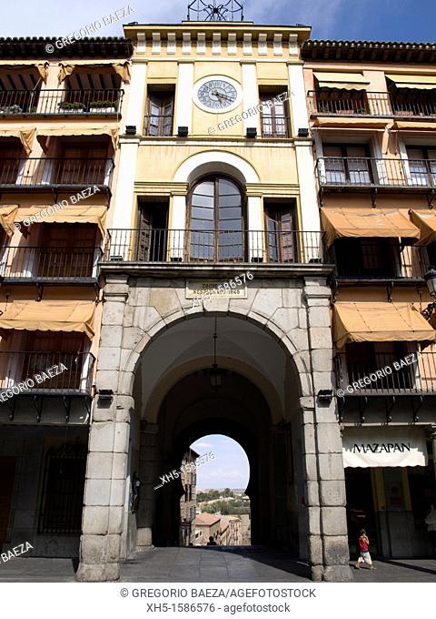 Gate in Zocodover Square, Toledo, Castilla la Mancha, Spain