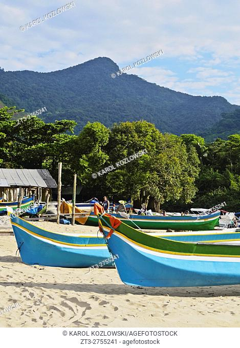 Brazil, State of Sao Paulo, Ilhabela Island, Traditional Colourful Boats on the beach in Bonete.