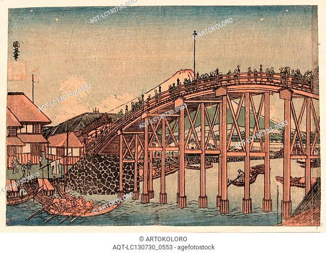 Nihonbashi yori fuji o miru zu, View of Mount Fuji from Nihonbashi., Utagawa, Kuninao, 1793-1854, artist, [between 1810 and 1830], 1 print : woodcut, color ; 18