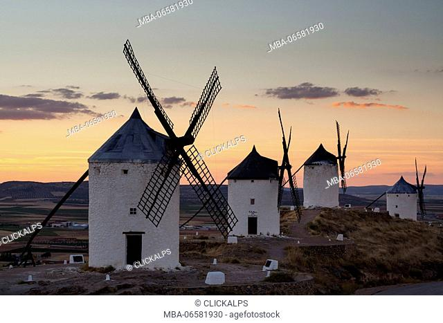 Consuegra, Castilla-La Mancha, Spain, A sunset on the windmills of Don Quixote