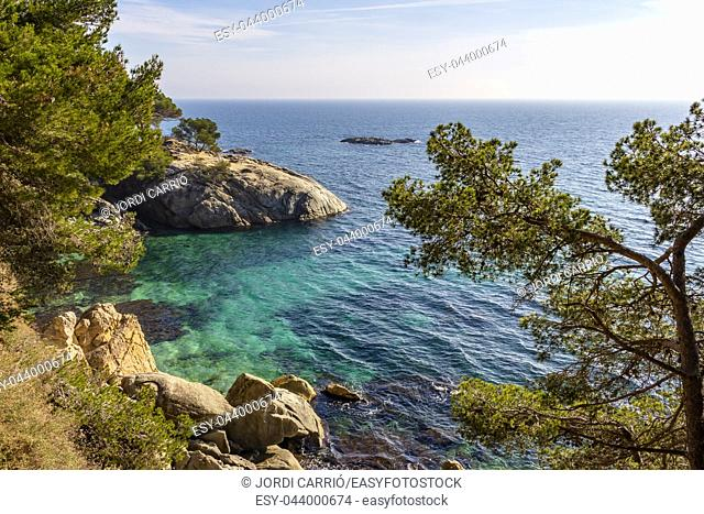 Cliffs of the coastal path from Platja d'Aro to Calonge on the Costa Brava, Catalonia