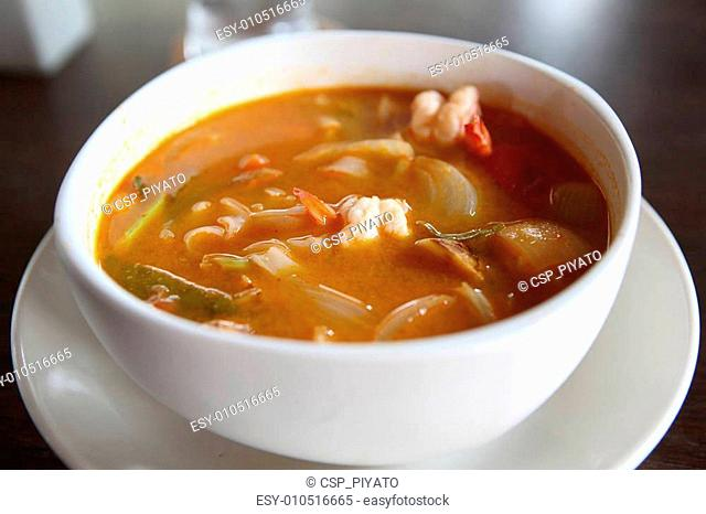Tom Yum soup Thai traditional spicy prawn soup with noodle