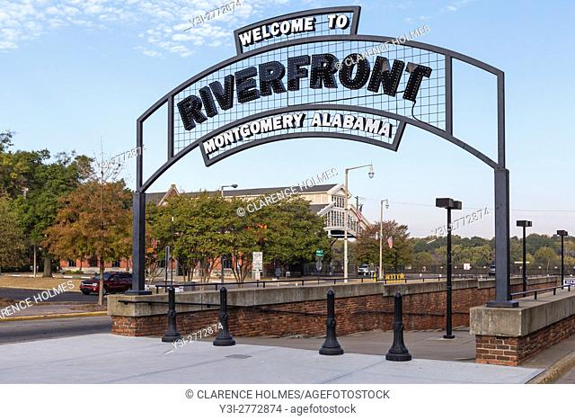 An arched welcome sign marks the entrance to Riverfront Park in Montgomery, Alabama