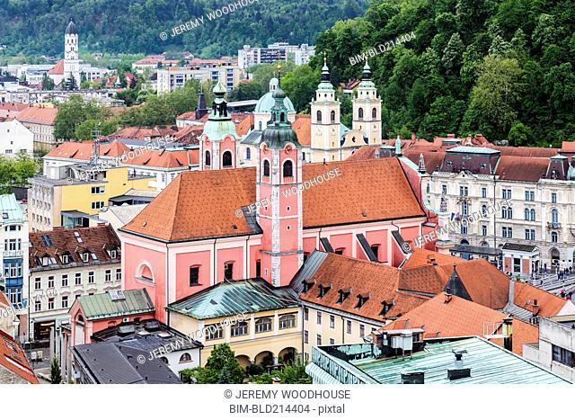 Aerial view of ornate buildings in Ljubljana cityscape, Slovenia