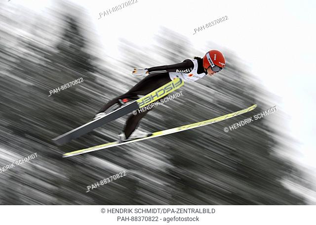 Carina Vogt of Germany jumps in a women's ski jumping training run at the 2017 Nordic World Ski Championships in Lahti, Finland, 23 February 2017