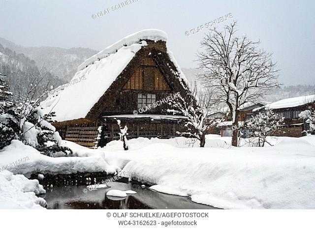 28. 12. 2017, Shirakawa-go, Gifu Prefecture, Japan, Asia - A traditional gassho-zukuri farmhouse in the village of Shirakawa-go
