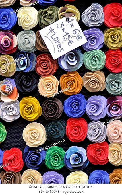 Cloth flowers for sale. Barcelona. Catalonia. Spain