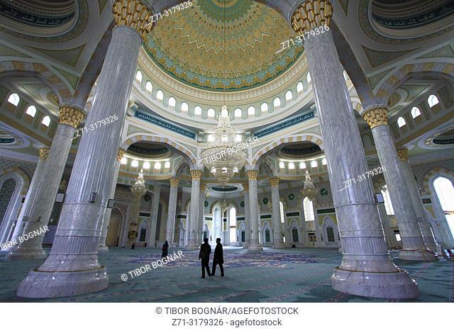 Kazakhstan; Astana; Hazrat Sultan Mosque, interior,