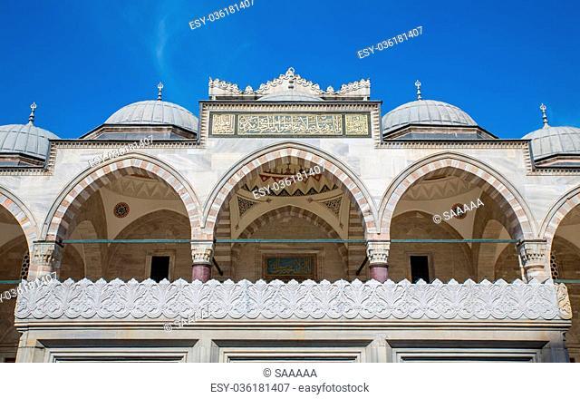 Blue sky and arcade in Suleymaniye Mosque, Istanbul