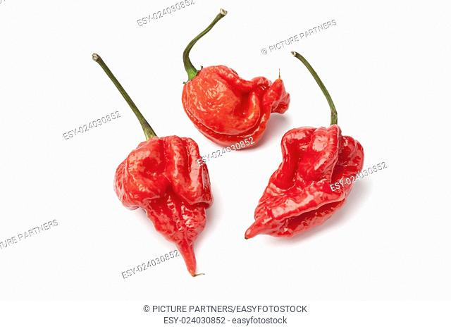 Fresh red hot scorpion chili peppers on white background