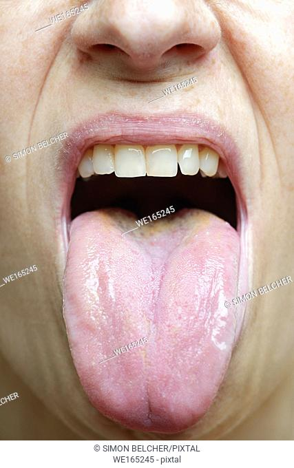 Woman Sticking Her Tongue Out, Close Up