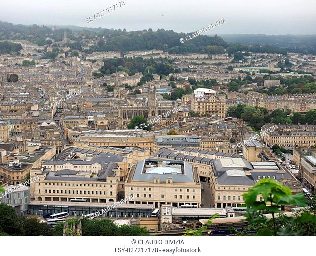 Aerial view of the city of Bath, UK