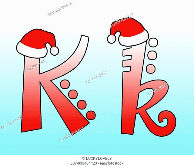 English alphabet Cross wearing a Santa hat