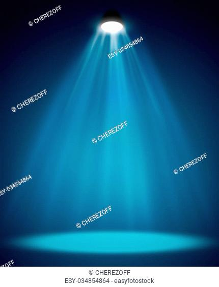 Blue background in show. Spotlight on smog