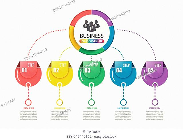 Abstract 3D infographic template with a five steps for success. Business circle template with options for brochure, diagram, workflow, timeline, web design