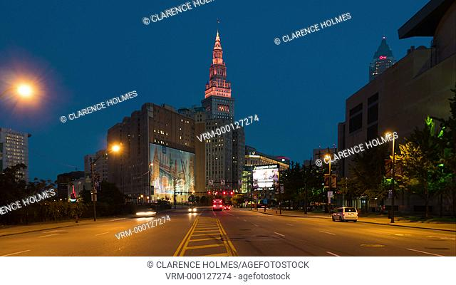 CLEVELAND - SEPTEMBER 25: (Time-lapse/Zoom in) Morning rush hour traffic moves along Ontario Street toward the Terminal Tower and Public Square on September 25