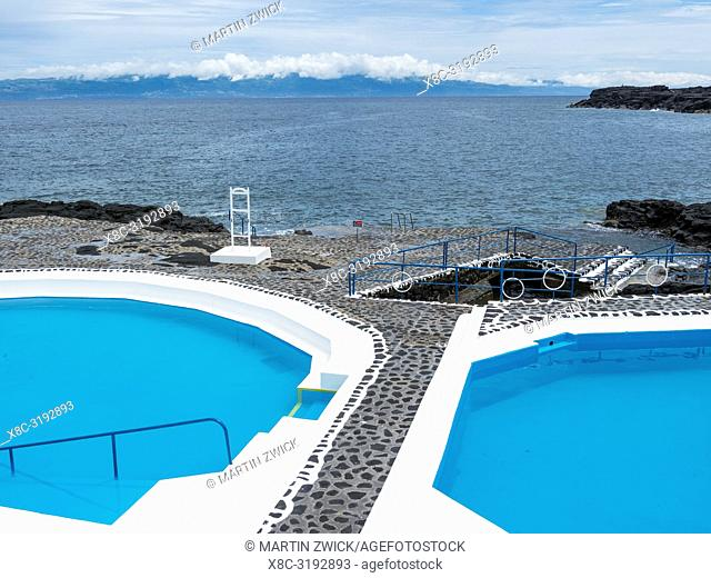 Beach and swimming pools at Furna de Santo Antonio. Pico Island, an island in the Azores (Ilhas dos Acores) in the Atlantic ocean