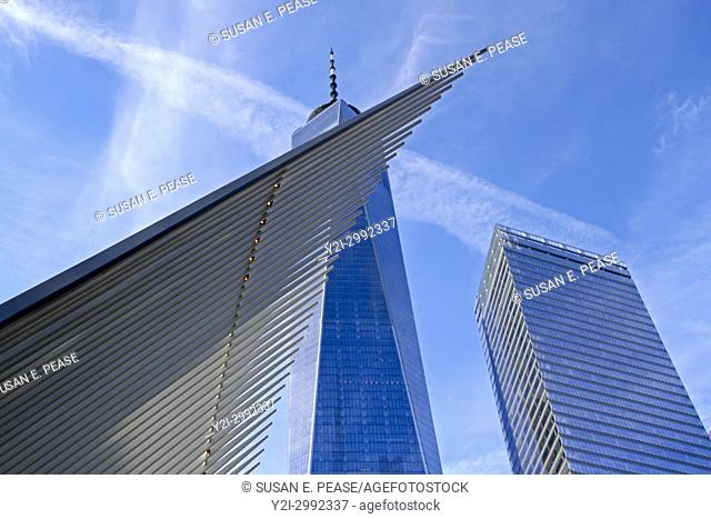 Detail of the Oculus in front of One World Trade Center, Manhattan, New York, New York