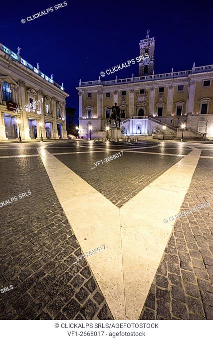 Capitoline Hill, Rome, Lazio, Italy. Piazza del Campidoglio by night