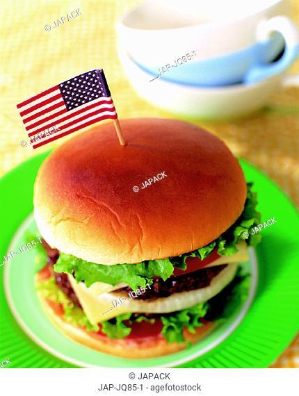 Burger with USA flag