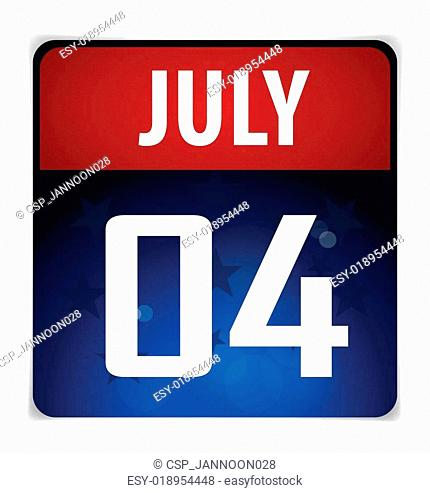 Simple Calendar Date- July 4th, vector illustration