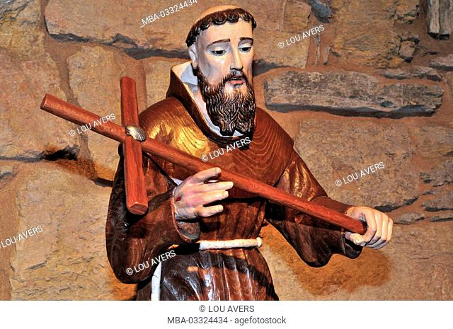 Spain, Galicia, statue of the saint Franziskus as a pilgrim in the parish church Santa Maria la Real in O Cebreiro