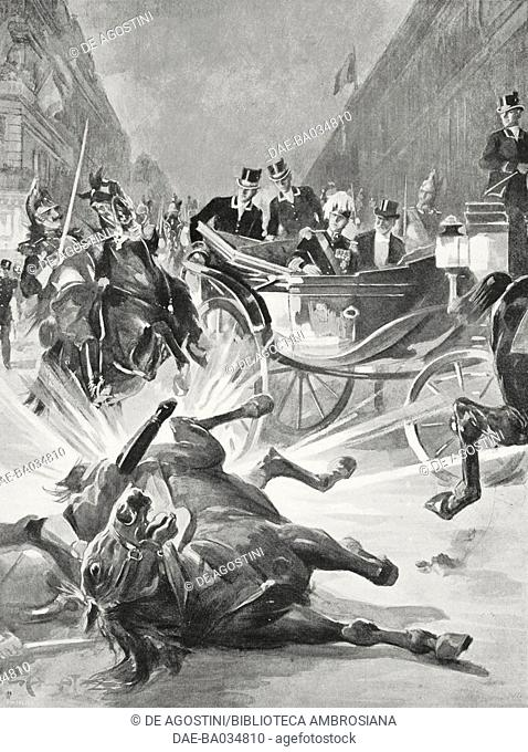 Attack on Alfonso XIII, King of Spain, May 31, 1905, Paris, France, drawing by Gennaro Amato, from L'Illustrazione Italiana, Year XXXII, No 24, June 11, 1905