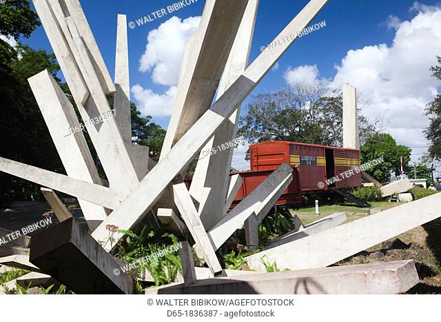 Cuba, Santa Clara Province, Santa Clara, Monumento a la Toma del Tren Blindado, monument to the attack on an armored train by Che Guevara, the armored train