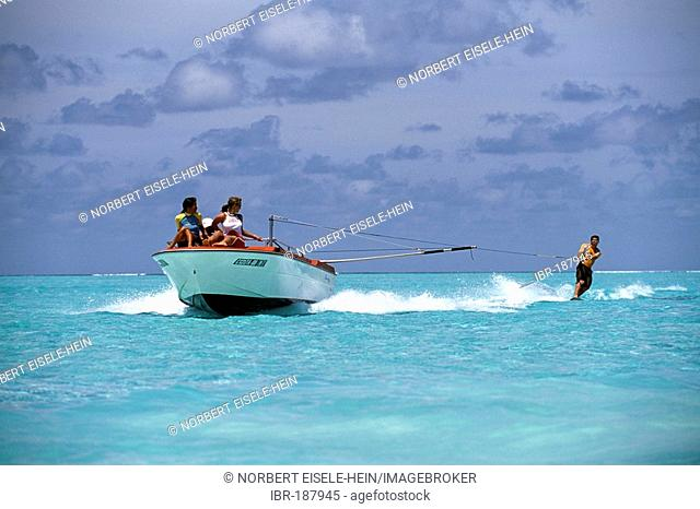 Water skiing, Olhuveli, South Atoll, Maldives