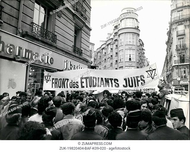 Apr. 04, 1982 - Yesterday afternoon a demonstration was held against the OLP in order to protest the assassination of the Israeli diplomat Yandy Barsimantov