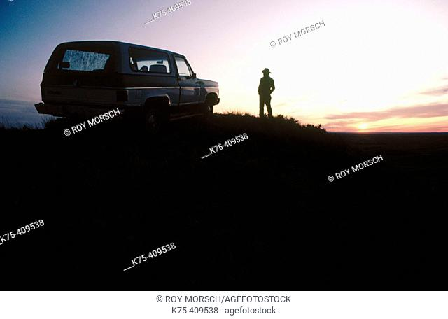 Rancher, his van and his ranch. Montana, USA