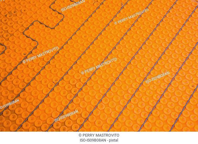 Close up of underfloor heating elements