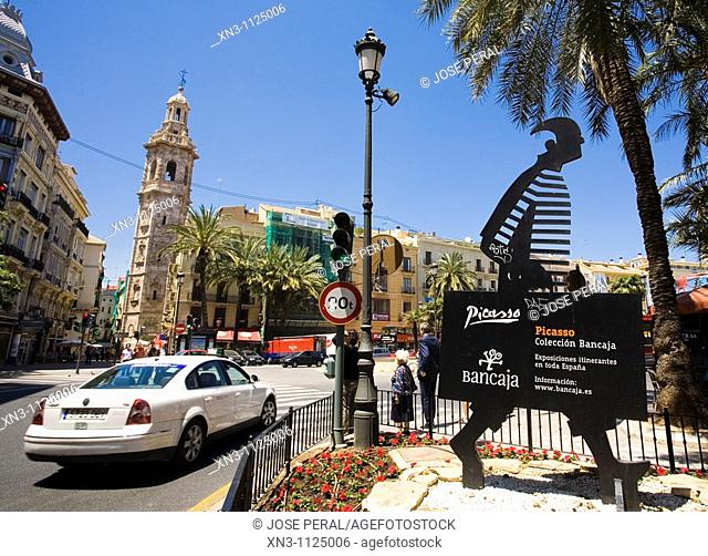 Picasso exhibit sign, Santa Catalina church tower (17th century) in left background. Valencia. Valencian Community, Spain