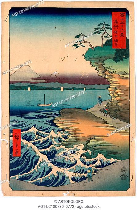 Boushu hota no kaigan, The coast at Hota in Boshu., Ando, Hiroshige, 1797-1858, artist, 1858., 1 print : woodcut, color ; 36 x 24.7 cm