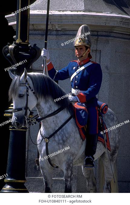 white, guard, astride, helmet, plumed, uniformed