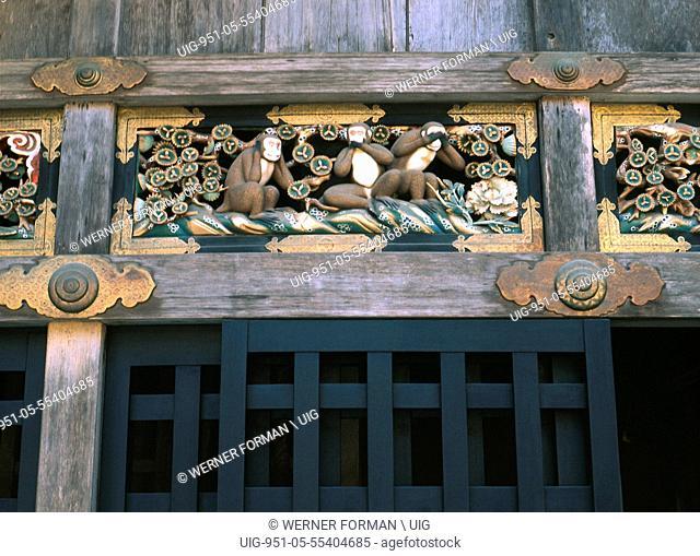 Carving of the celebrated monkey trinity: Hear no Evil, Speak no Evil, See no Evil