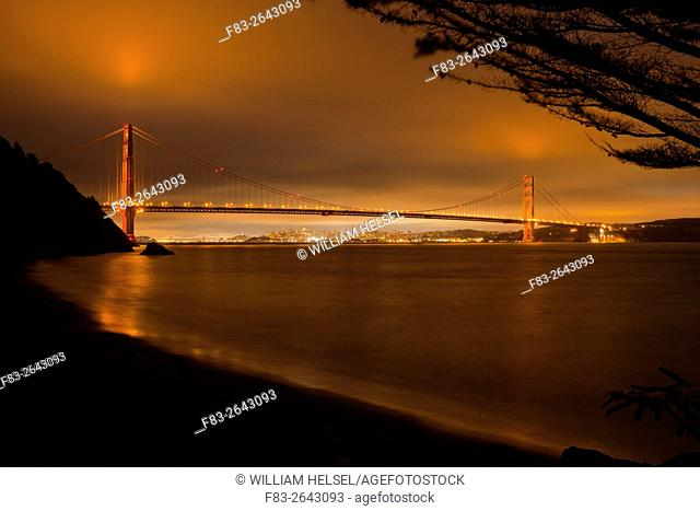 Golden Gate Bridge, San Francisco, Bay Bridge, CA, USA, night