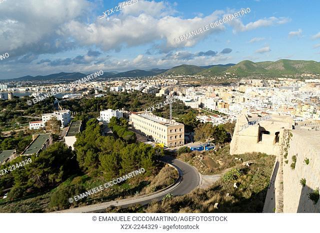 View of the town, Almudaina, Ibiza Castle, Old Town, Dalt Vila, Eivissa, Ibiza, Balearic Islands, Spain, Mediterranean, Europe