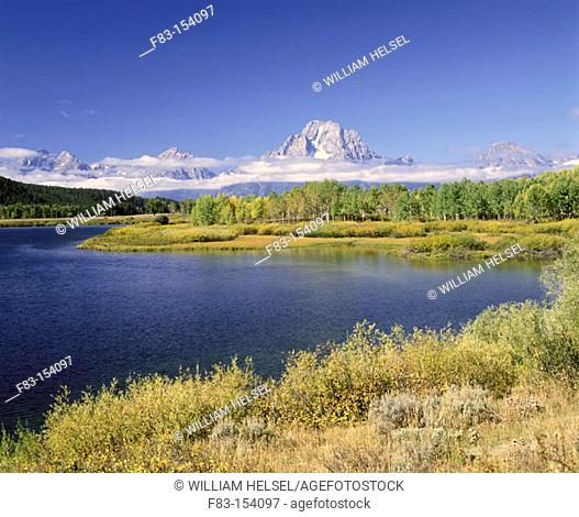 Oxbow Bend on Snake River and Mount Moran. Grand Teton NP. Wyoming. USA